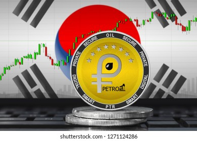 Petro Korea; petro (PTR) coin on the background of the flag of South Korea