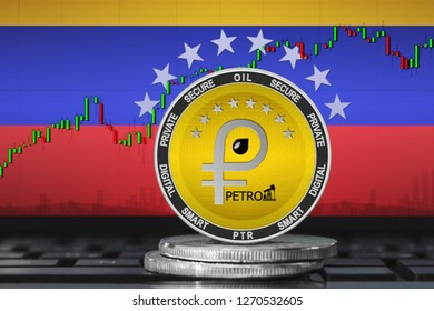Petro Venezuela; petro (PTR) coin on the background of the flag of Venezuela