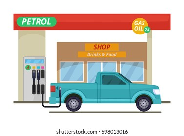 Petrol or diesel station. illustrations in cartoon style. Gas station for car, building petrol station with shop