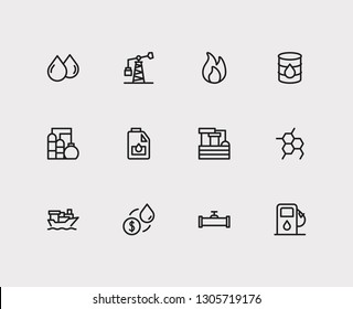 Petrol icons set. Chemical reaction and petrol icons with oil market, oil barrel and tanker ship. Set of filtration for web app logo UI design.