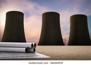 petroleum chemical concept with nuclear power plant background