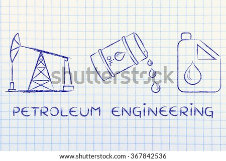 Petroleum Engineering Pump Jack Barrel Tank Stock Illustration