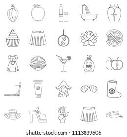 Petticoat icons set. Outline set of 25 petticoat icons for web isolated on white background