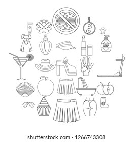 Petticoat icons set. Outline set of 25 petticoat icons for web isolated on white background