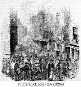 Petticoat Lane, London, on a Sunday morning, Engraving: 1883.