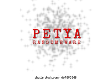 The Petya and binary code. the Petya and ransomware concept Security.