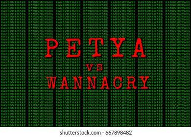 The Petya and binary code. the Petya and ransomware concept Security