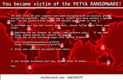 Petya ransomware computer virus cyber attack  screen cool  illustration