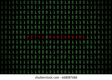 Petya Ransomware word with technology digital dark or black background with binary code in light green color 1001.