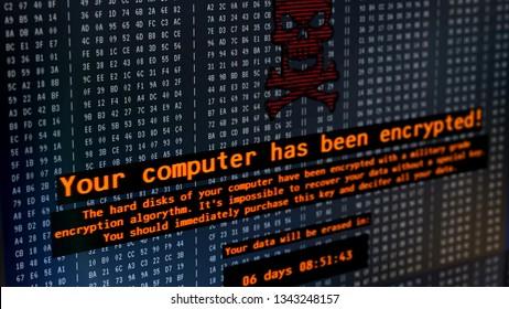Petya virus message on computer screen, cyberattack, hackers demanding money