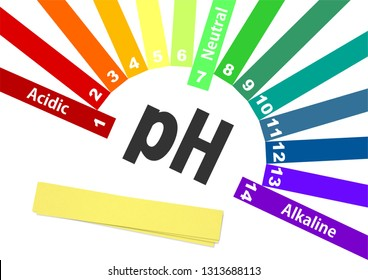 ph scale isolated on white. 3D illustration