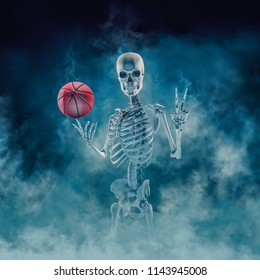 The phantom basketball player / 3D illustration of scary skeleton finger spinning basketball and showing victory sign emerging through smoke