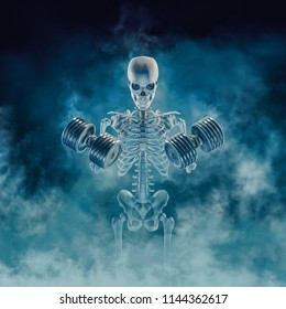 The phantom bodybuilder / 3D illustration of scary fitness skeleton lifting heavy dumbbells emerging through smoke