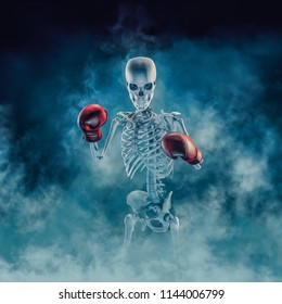 The phantom boxer / 3D illustration of scary fighter skeleton wearing boxing gloves sign emerging through smoke