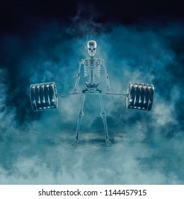 The phantom deadlift / 3D illustration of scary fitness skeleton lifting heavy barbell emerging through smoke