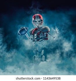 The phantom football quarterback / 3D illustration of scary skeleton with American football, helmet and shoulder pads emerging through smoke