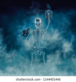 The phantom kettlebell workout / 3D illustration of scary fitness skeleton lifting heavy kettlebells emerging through smoke