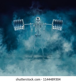 The phantom squat / 3D illustration of scary fitness skeleton squatting heavy barbell emerging through smoke