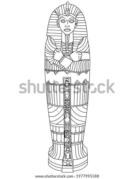 pharaoh tomb coffin black white illustration