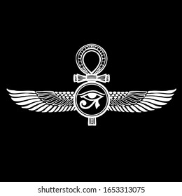 Pharaonic wings and the key to life and the Egyptian Eternal  - vector