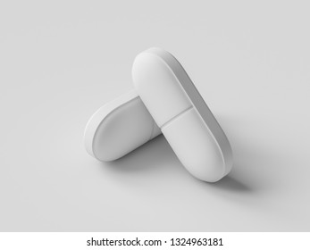 Pharmaceutical medicine pill on gray background. Health care concept. 3D render illustration.