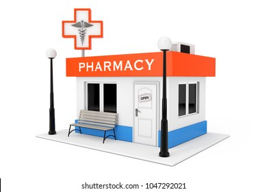 Pharmacy Drugstore Shop Building on a white background. 3d Rendering