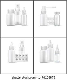 Pharmacy posters and text sample sprays inhalers plastic containers with blister pills medical treatment for peoples health raster illustration