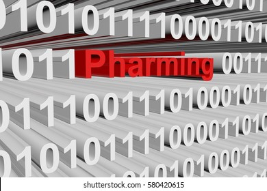 pharming in the form of binary code, 3D illustration