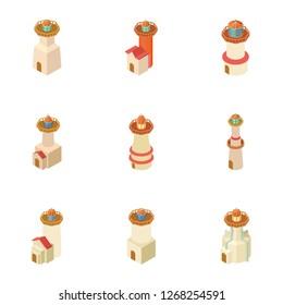 Pharos icons set. Isometric set of 9 pharos icons for web isolated on white background