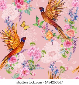 Pheasants and roses ,Seamless pattern for design of bird fabrics and flowers watercolor illustration
