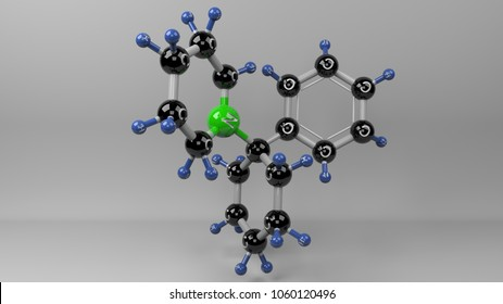 Phencyclidine molecule illustration. Molecular structure of PCP drug as know as K2, angel dust and synthetic marijuana. 3D rendering. Footage Available.