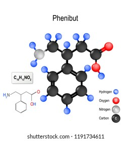 Phenibut (Anvifen, Fenibut, Noofen) is a central nervous system depressant. Structure of a molecule. chemical formula and model of the Phenibut molecule. illustration for medical, educational