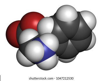 Phenibut anxiolytic and sedative drug molecule. 3D rendering. Atoms are represented as spheres with conventional color coding: hydrogen (white), carbon (grey), nitrogen (blue), oxygen (red).