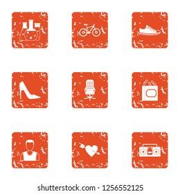 Pheromone icons set. Grunge set of 9 pheromone icons for web isolated on white background