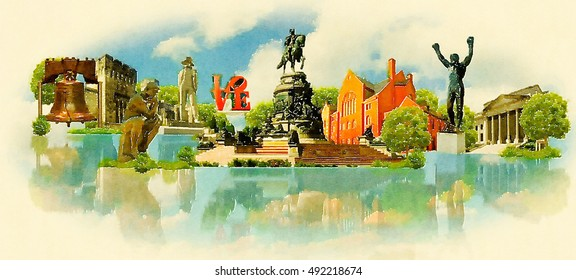 PHILADELPHIA city water color vector panoramic illustration