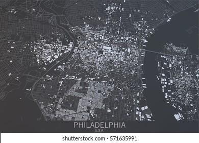 Philadelphia map, satellite view, Usa. 3d rendering