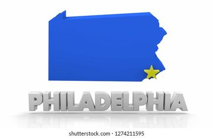Philadelphia PA Pennsylvania City State Map 3d Illustration