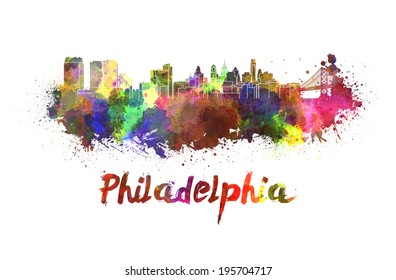 Philadelphia skyline in watercolor splatters with clipping path