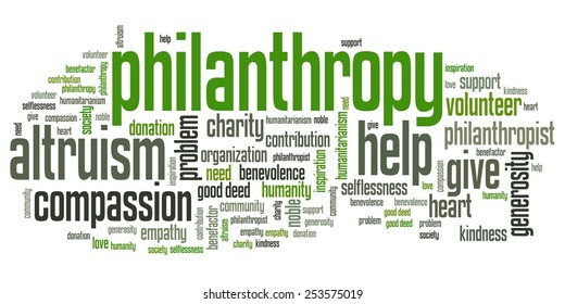 Philanthropy issues and concepts word cloud illustration. Word collage concept.