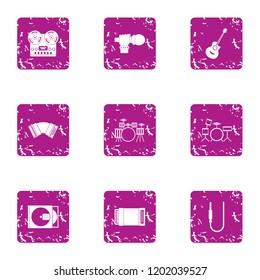 Philharmonic icons set. Grunge set of 9 philharmonic icons for web isolated on white background