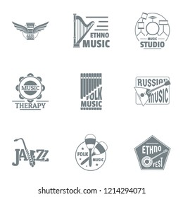 Philharmonic logo set. Simple set of 9 philharmonic logo for web isolated on white background