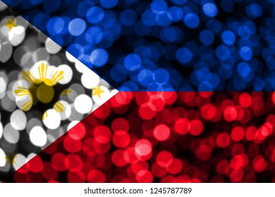 Philipines abstract blurry bokeh flag. Christmas, New Year and National day concept flag.
