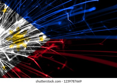 Philipines abstract fireworks sparkling flag. New Year, Christmas and National day concept