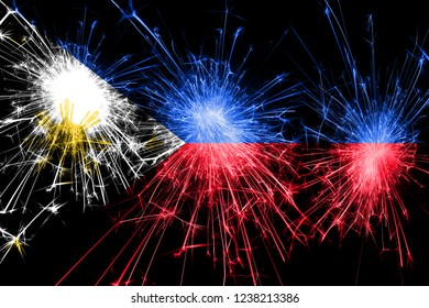 Philipines fireworks sparkling flag. New Year, Christmas and National day concept