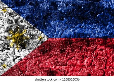 Philipines grunge rusted metal texture flag, rust metal background