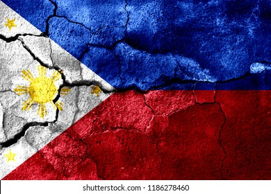 Philipines rusted texture flag, rusty background, earthquake consequences concept