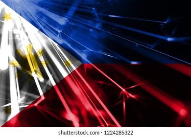 Philipines shining fireworks sparkling flag. New Year 2019 and Christmas futuristic shiny party concept flag