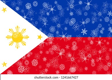 Philipines winter snowflakes flag background.