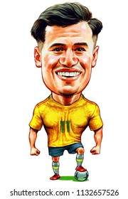 Philippe Coutinho Correia is a Brazilian professional footballer. Illustration,Caricature,Design,July,12,2018