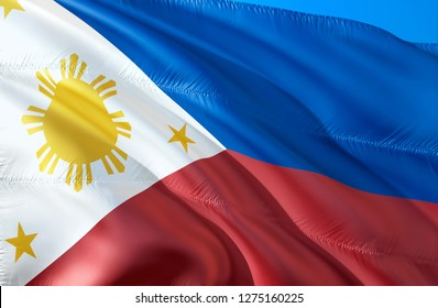 Philippine flag. 3D Waving flag design. The national symbol of Philippines, 3D rendering. Philippine National colors. Philippines 3D Waving sign background design. 3D ribbon, wallpaper, background